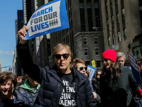Musician Sir Paul McCartney takes part in the March for Our Lives Rally near Central Park West in New York. Picture: Eduardo Munoz Alvarez/AFP