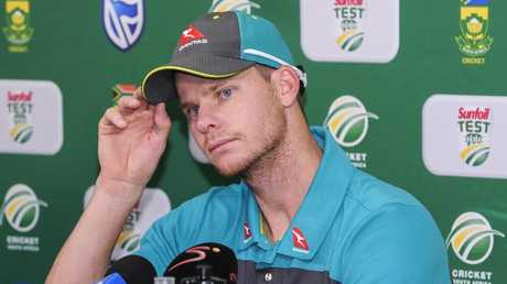 DURBAN, SOUTH AFRICA — FEBRUARY 28: Steven Smith during the Australian national mens cricket team press conference at Sahara Stadium Kingsmead on February 28, 2018 in Durban, South Africa. (Photo by Gerhard Duraan/Gallo Images/Gettyt Images)