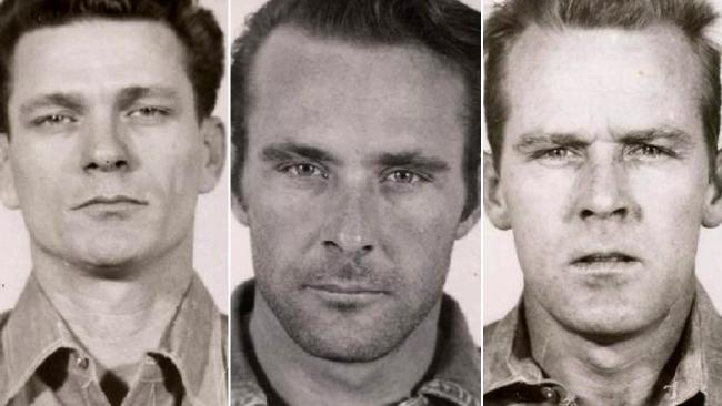 The prison mug shots of convicts of, left to right, Frank Lee Morris, Clarence Anglin and John Anglin.