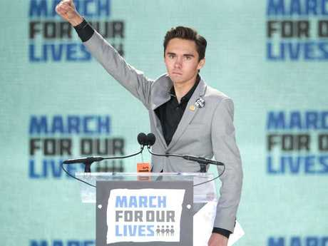Marjory Stoneman Douglas High School Student David Hogg pictured at the anti-gun violence rally Picture: Chip Somodevilla/Getty Images/AFP