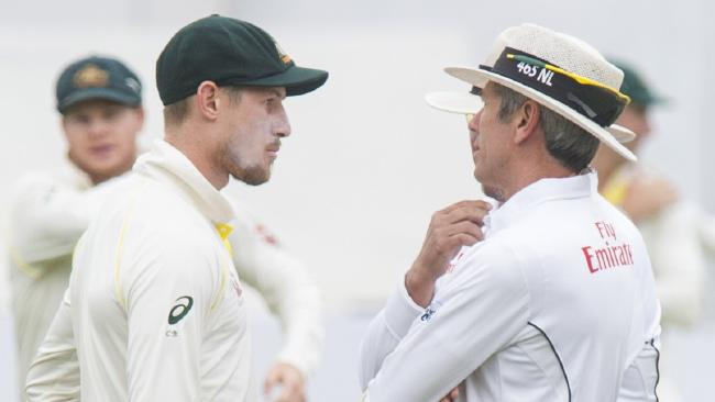 CAPE TOWN, SOUTH AFRICA — MARCH 24: Umpires Nigel Llong and Richard Illingworth confront Australia's Cameron Bancroft during day 3 of the 3rd Sunfoil Test match between South Africa and Australia at PPC Newlands on March 24, 2018 in Cape Town, South Africa. (Photo by Peter Heeger/Gallo Images/Getty Images)