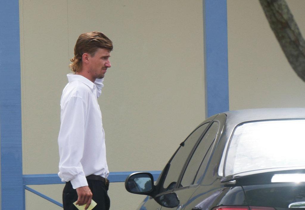 Macaully Edward Roberts, 22, of Maryborough, leaves Maryborough Magistrates Court.