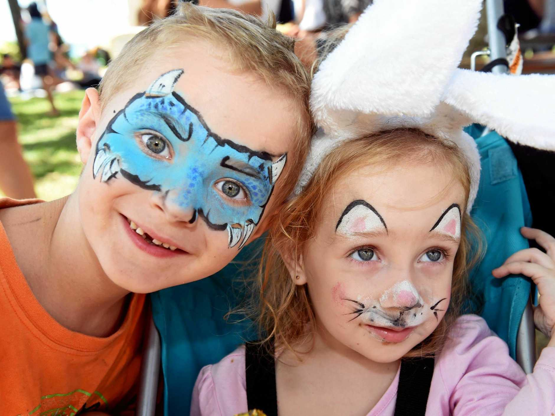 Nate and Charlee Bradford enjoying last year's Fraser Coast Artslink Easter Party in Scarness Park.