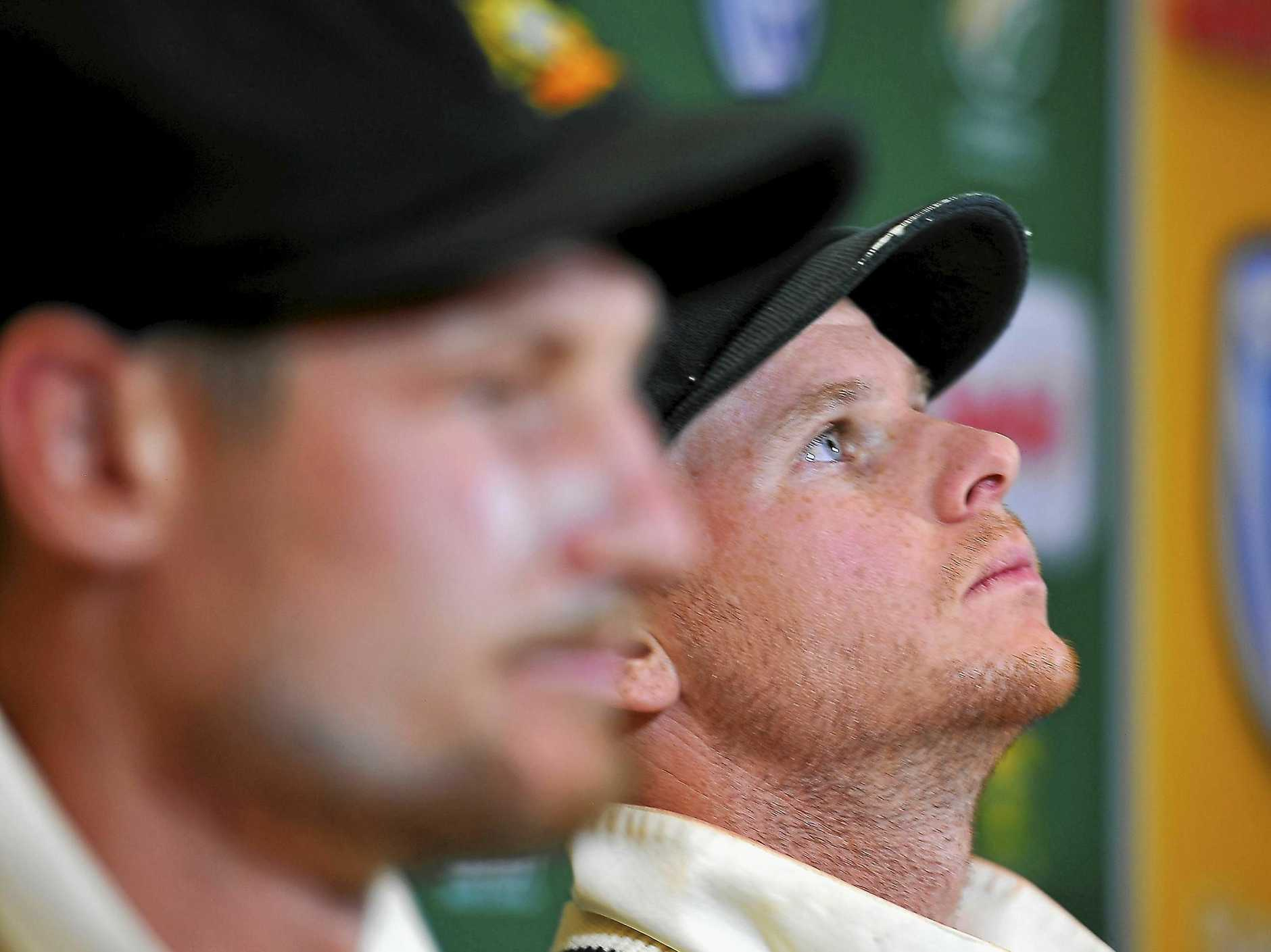 CAPE TOWN, SOUTH AFRICA - MARCH 24: Steven Smith (capt) and Cameron Bancroft (L)  of Australia during day 3 of the 3rd Sunfoil Test match between South Africa and Australia at PPC Newlands on March 24, 2018 in Cape Town, South Africa. Australian batsman Cameron Bancroft admits to attempting to change the condition of the ball by using a foreign object.  (Photo by Ashley Vlotman/Gallo Images/Getty Images)