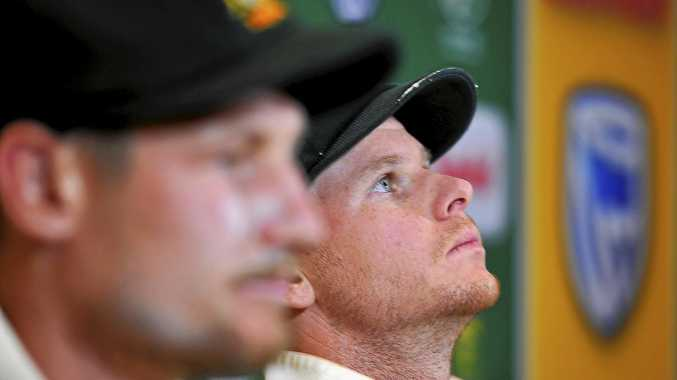 CAPE TOWN SOUTH AFRICA- MARCH 24 Steven Smith and Cameron Bancroft  of Australia during day 3 of the 3rd Sunfoil Test match between South Africa and Australia at PPC Newlands