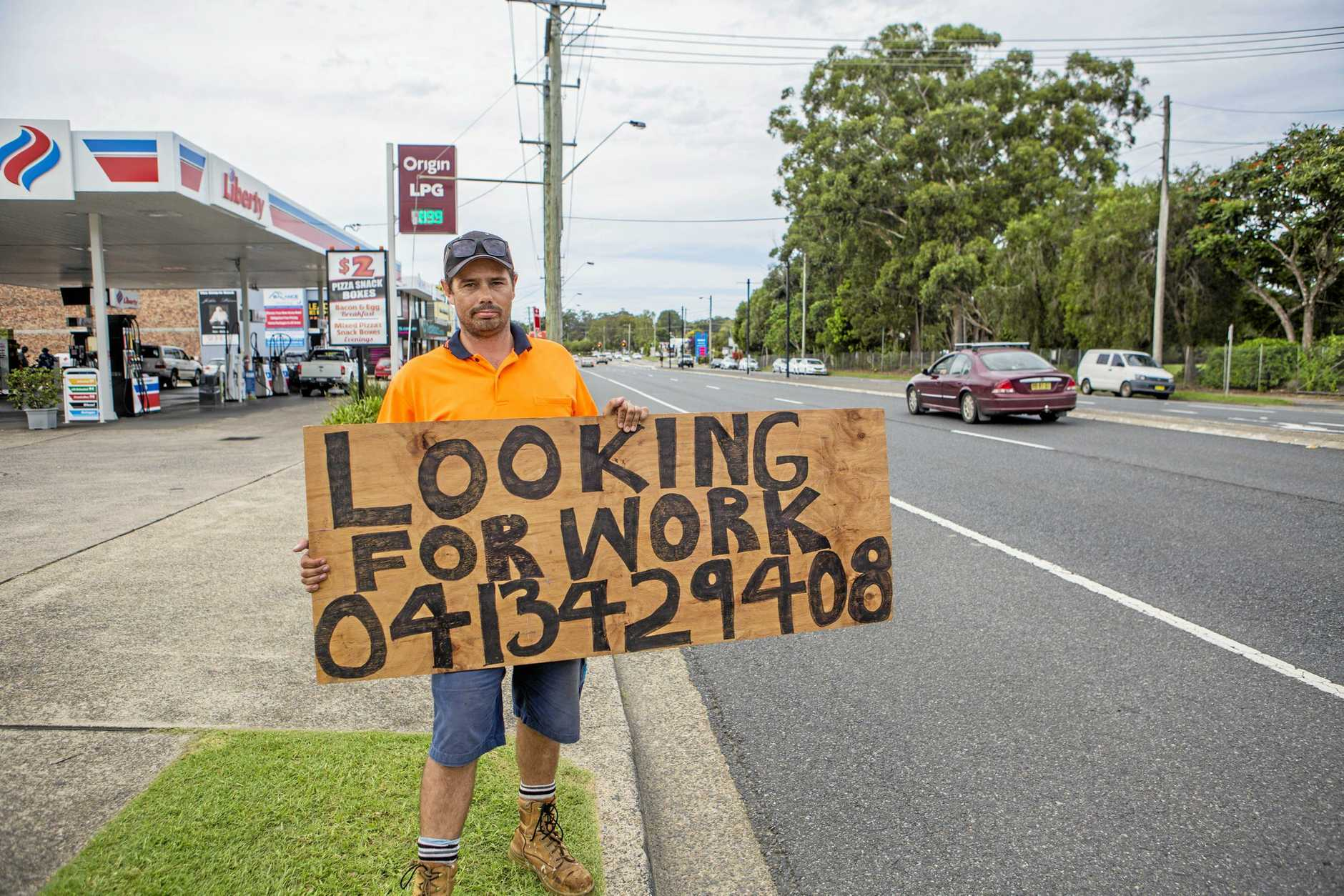 IT PAID OFF: Jobseeker and father-of-five David Lennard scored seven job offers after standing outside the Bailey Centre today calling for work.