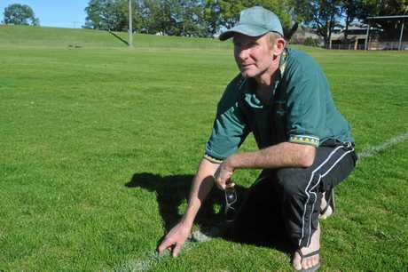 Tony Blanch is waiting for the end of rugby league season to begin curating the McKittrick Park pitch for the start of the 2014/15 CRCA Cricket season.  Photo Bill North / Daily Examiner