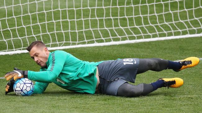 Danny Vukovic of the Socceroos catches the ball during an Australian Socceroos training session