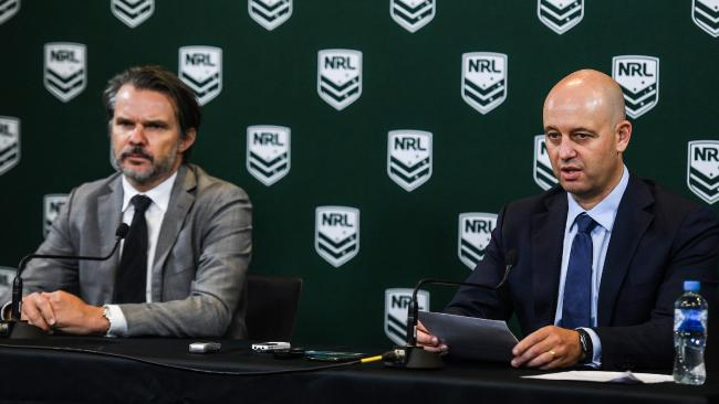 NRL COO Nick Weeks (left) and NRL CEO Todd Greenberg hand down punishments for Manly's salary cap breaches.