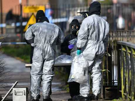Police in the UK during an investigation into a nerve-agent attack on a former Russian spy. Picture: AFP/Ben Stansall