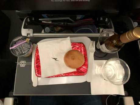 The plane food was 'bland but hydrating' to keep you going on the 17-hour flight.