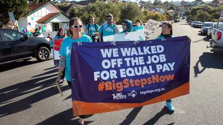 Childcare workers protest for higher wages last year. (Pic: Richard Dobson)