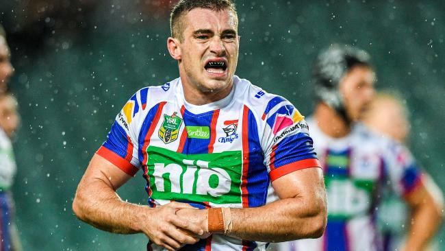 Connor Watson of the Knights during the Round 3 NRL match between the Sydney Roosters and the Newcastle Knights at Allianz Stadium in Sydney, Sunday, March 25, 2018. (AAP Image/Brendan Esposito) NO ARCHIVING, EDITORIAL USE ONLY