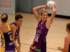 Laura Geitz in action for the Queensland Firebirds in a practice match against the Sunshine Coast Lightning.