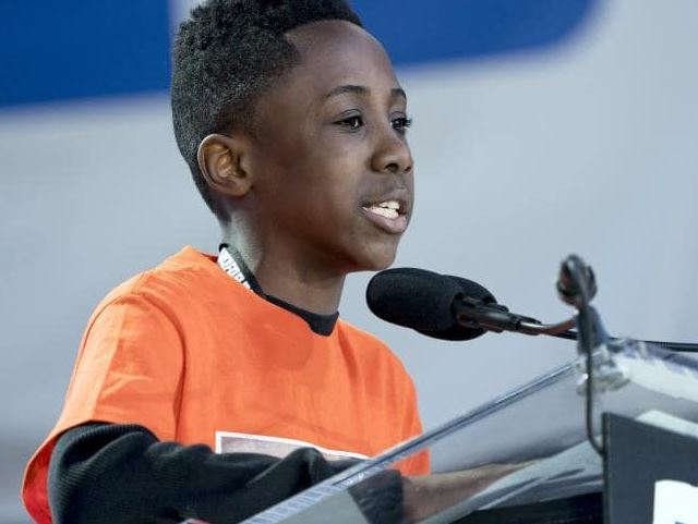 Christopher Underwood, a junior ambassador with Moms Demand Action for Gun Sense in America, who lost his brother to gun violence in the Brooklyn borough of New York.