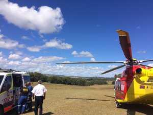 MOTORBIKE CRASH: Rescue chopper rushes man to hospital
