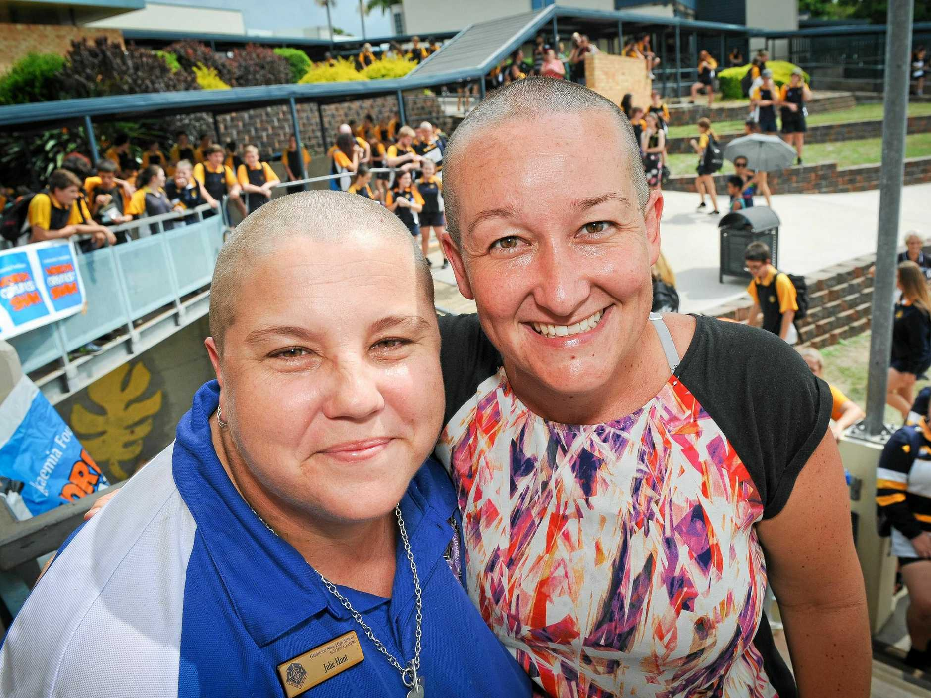 BALD BEAUTY: Gladstone State High School teacher Julie Hunt and deputy principal Shelley Slade said they would shave their heads if $5000 was raised.