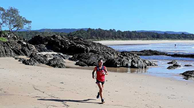 Clare Palmer at Moonee on her way to victory in the 45km long Bailey Centre Great Ocean Run.