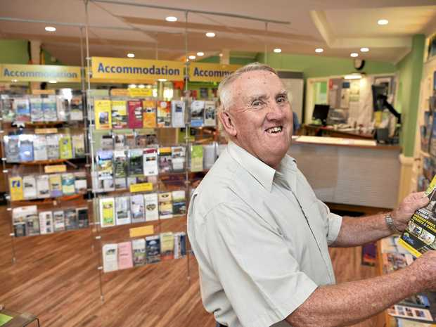 PROUD VOLUNTEER: Bruce Moore volunteered at the Toowoomba Visitor Information Centre for more than 30 years, informing and entertaining customers. Photo: KEVIN FARMER