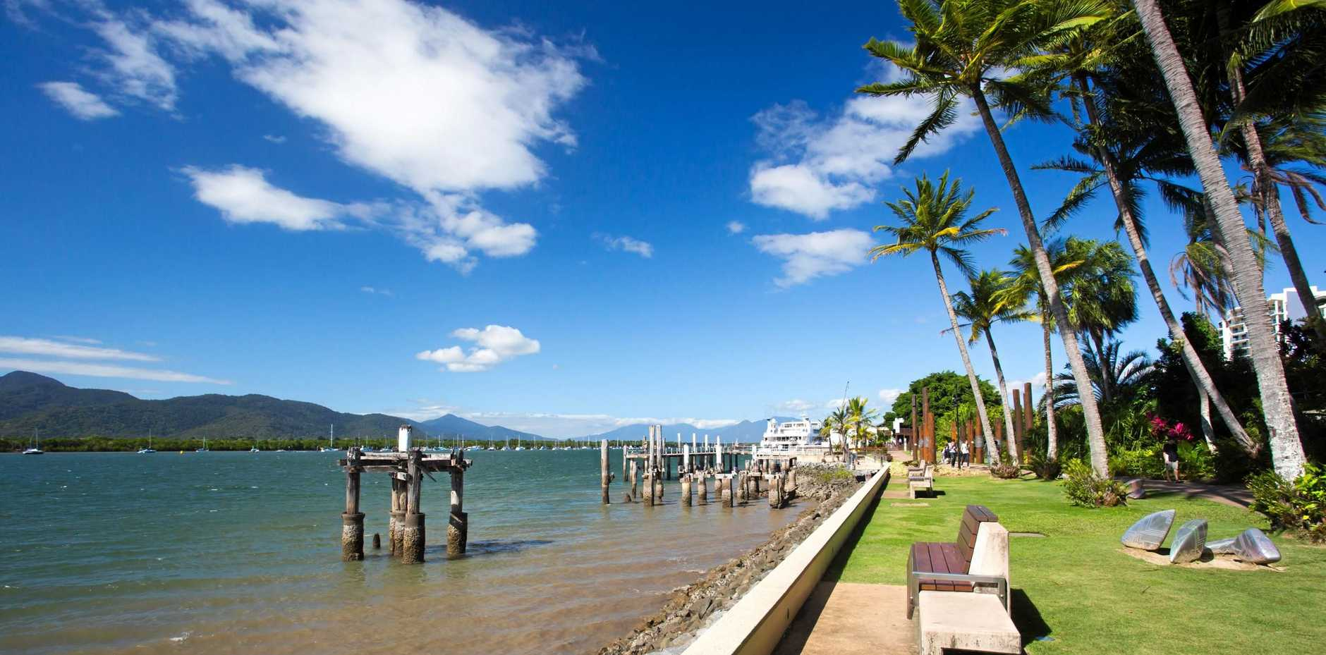 The waterfront and Chinaman Creek on a sunny day in Cairns.