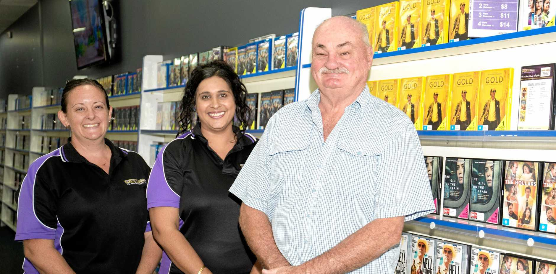 Cholena Smith, Sonia Van Twest and Peter Fife at Gympie's Network Video store last year.