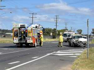 Ute and truck collide at major Warwick intersection