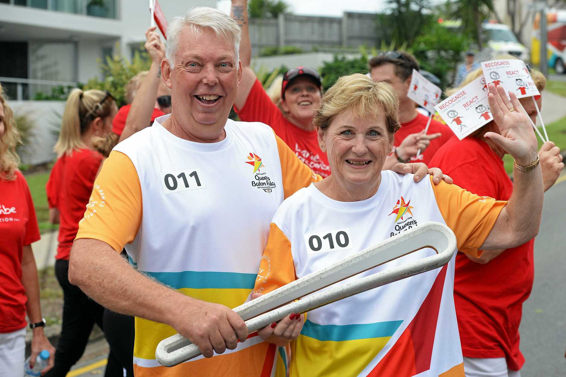 HISTORICAL MOMENT: Commonweath Games Queens Baton Relay, Caloundra. Bruce and Denise Morcombe.