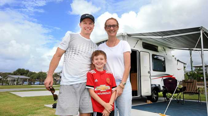 The Kingscliff Caravan Park officially opened today and on hand to enjoy the occasssion were : Steve Grant with his wife Lisa and son Cooper (7)