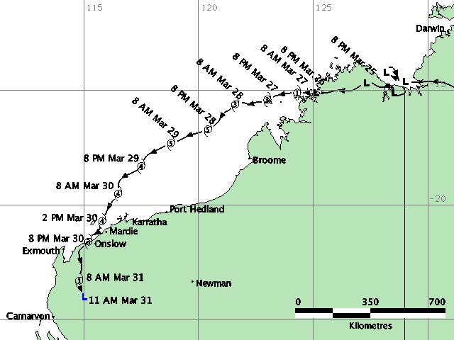 The path of TC Glenda. Source: BOM