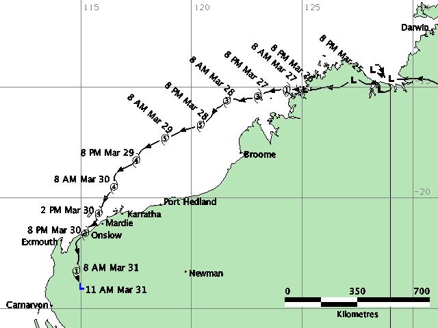 The path of TC Glenda. Source: BOM