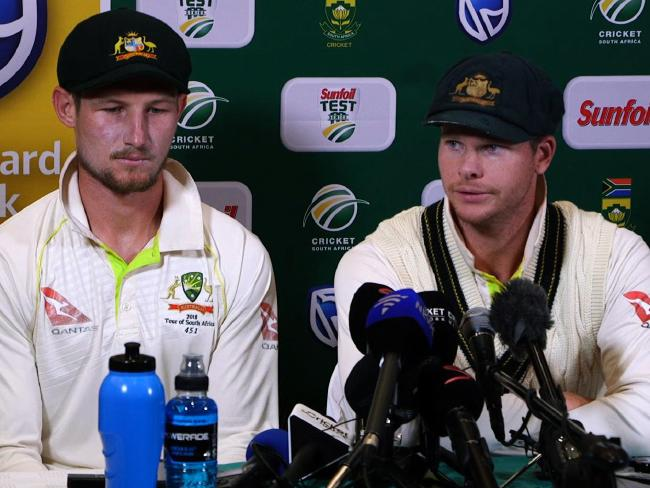 Steve Smith and Cameron Bancroft face the music after being caught on camera. Picture: AFP PHOTO / AFP TV / STR