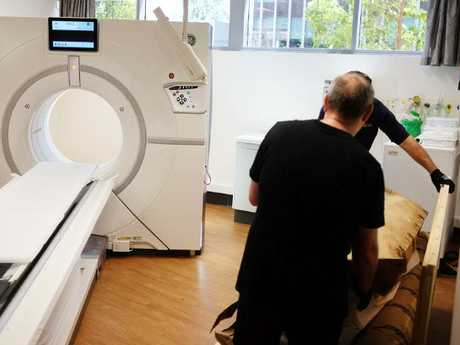 Mer-Neith-ites is unloaded at Macquarie Medical Imaging in preparation for scanning. Picture: Macquarie Medical Imaging.