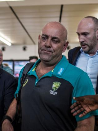 Coach Darren Lehmann arriving in Johannesburg looking worse for wear. Picture: Themba Hadebe