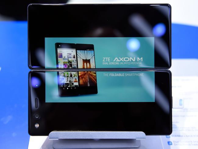 ZTE's dual screens foldable smartphone AXON M. Picture: Josep Lago