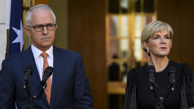 Australian Prime Minister Malcolm Turnbull (left) and Australian Foreign Minister Julie Bishop