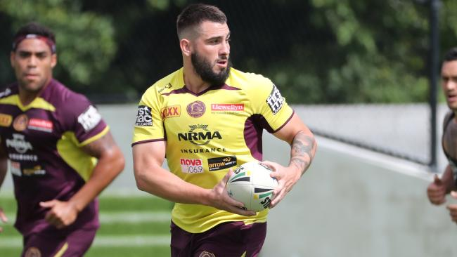 Brisbane Broncos centre Jack Bird trains with a pad on his chest to protect a sternum injury on Monday. Photo: Peter Wallis