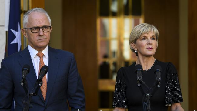 Australian Prime Minister Malcolm Turnbull and Foreign Minister Julie Bishop called the poisoning a shocking attack. Picture: Lukas Coch/AAP