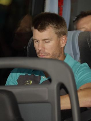 Warner at the front of the team bus after arriving in Johannesburg. Picture: Themba Hadebe
