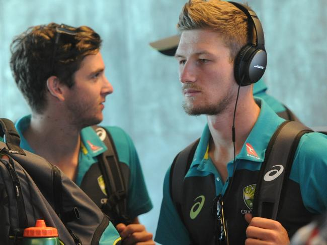 Cameron Bancroft heads to the airport. Picture: Brenton Geach Gallo Images/Getty Images.