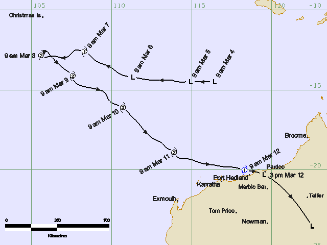The path of Tropical Cyclone Jacob Source: BOM