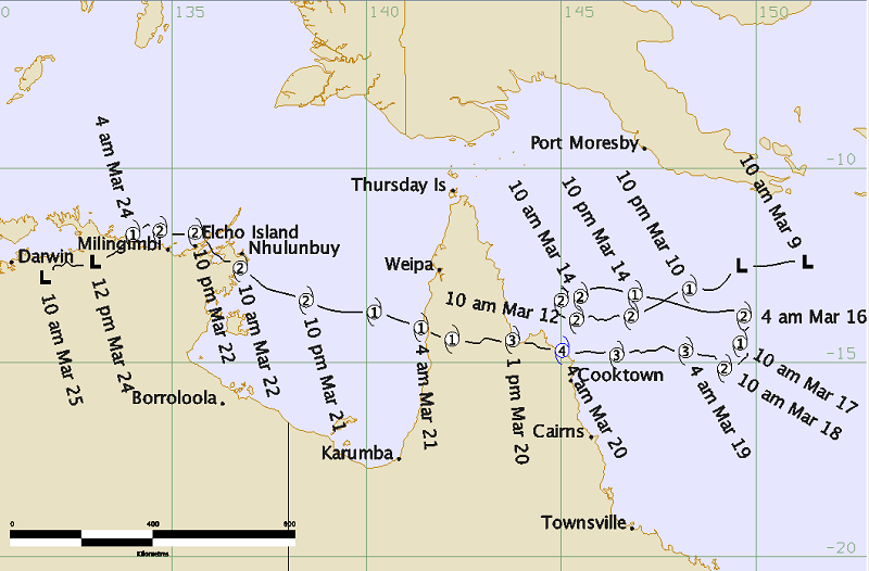 The path of Tropical Cyclone Nathan. Source: BOM