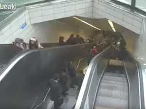 Man swallowed by escalator