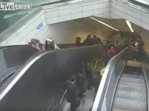 Man swallowed by escalator in terrifying footage