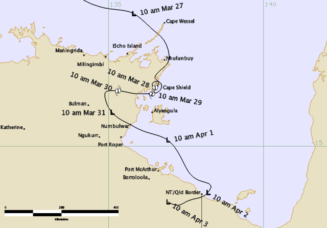 The path of Tropical Cyclone Paul Source: BOM