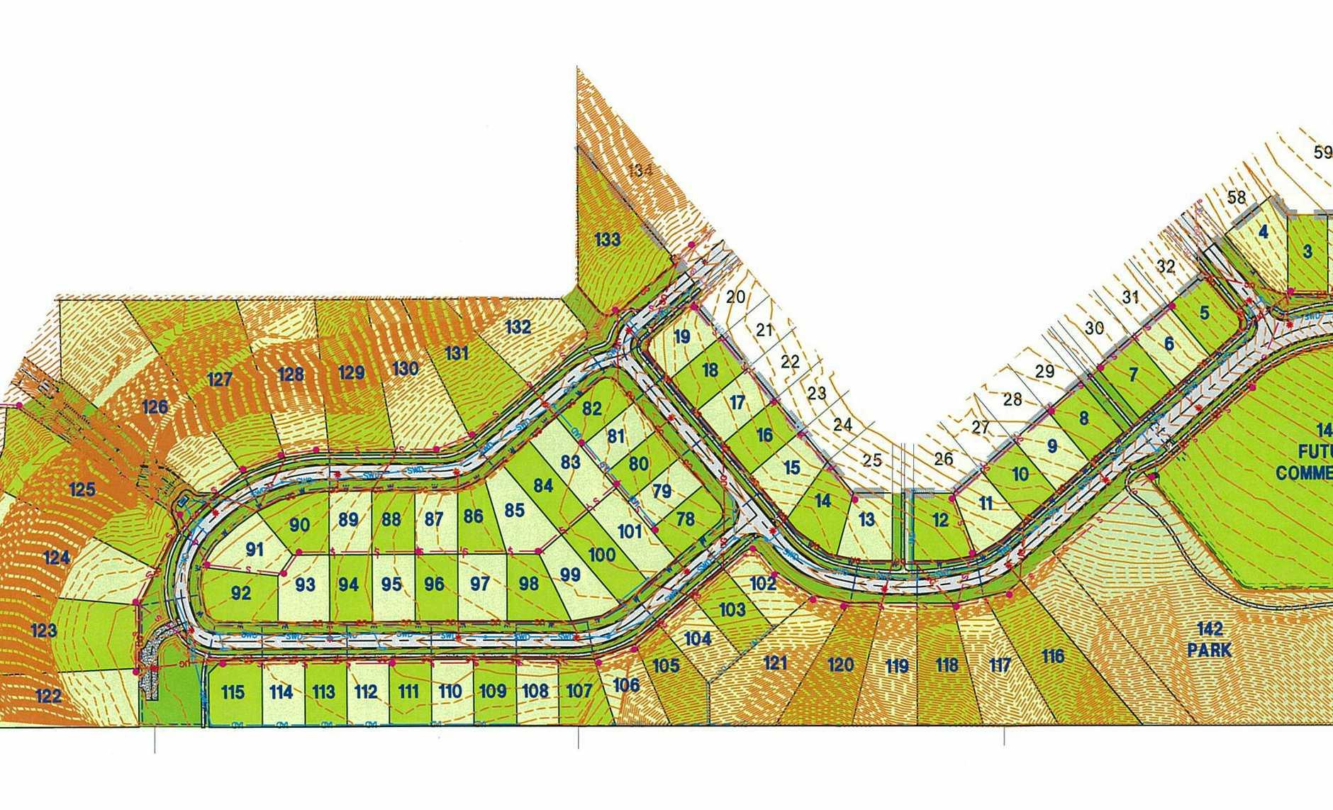 Contour maps of Sovereign Hill housing estate in Torrington, Toowoomba.