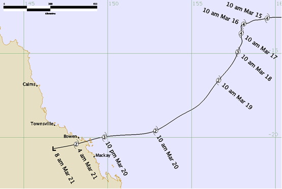 The path of Tropical Cyclone Ului Source: BOM