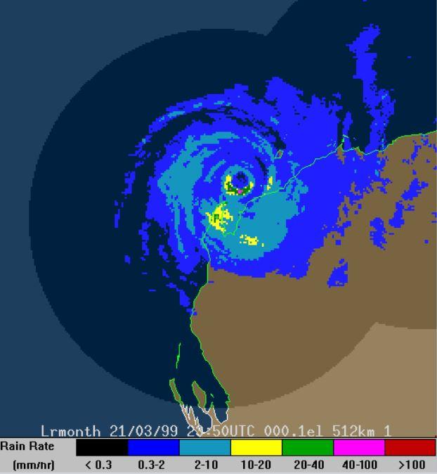 A radar image of TC Vance as it hit the Western Australian coastline. Source: BOM