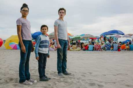 Storm Reid, Deric McCabe and Levi Miller in a scene from the movie A Wrinkle in Time.