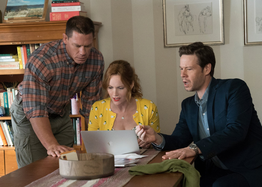John Cena, Leslie Mann and Ike Barinholtz in a scene from Blockers.