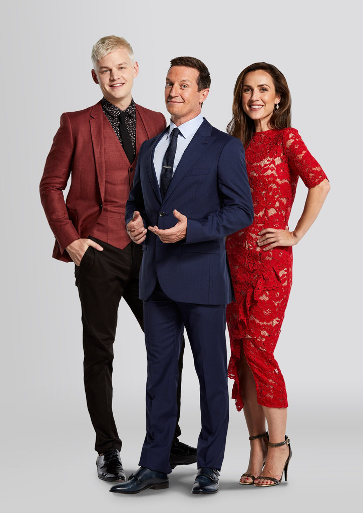 Joel Creasey, Rove McManus and Jane Harbour star in the TV series Show Me The Movie!